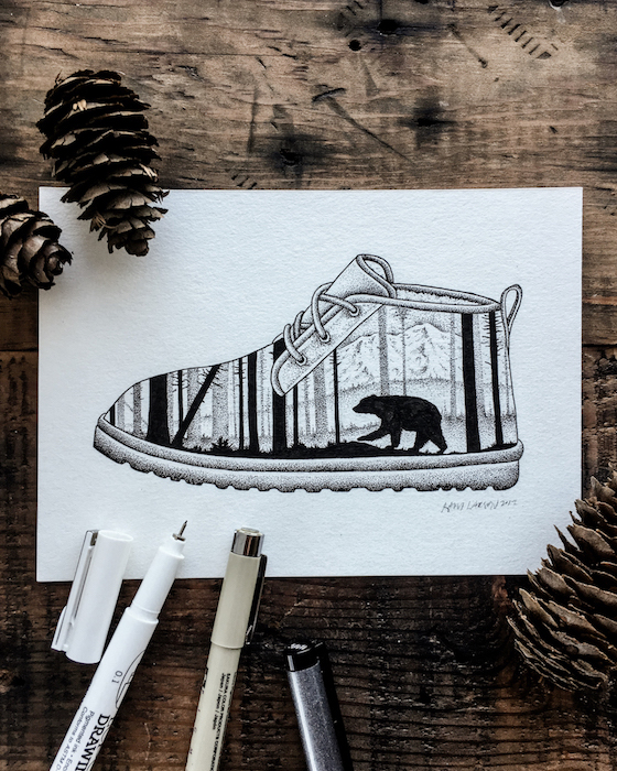 A sketch of the UGG Neumel with a California wildlife scene by the artist.