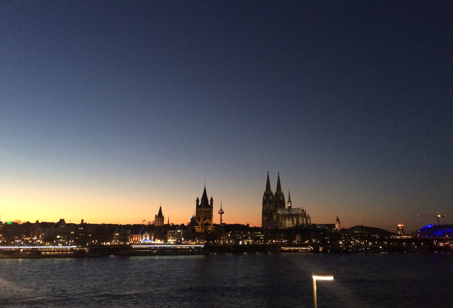 The skyline of Cologne, Germany at sundown