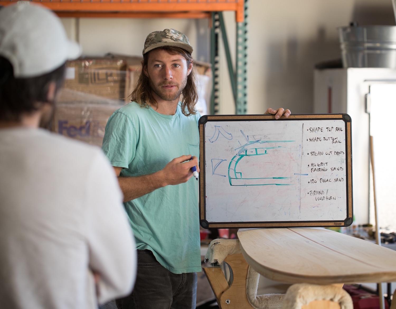 Nolan Collins instructs the Grain Surfboards workshop.