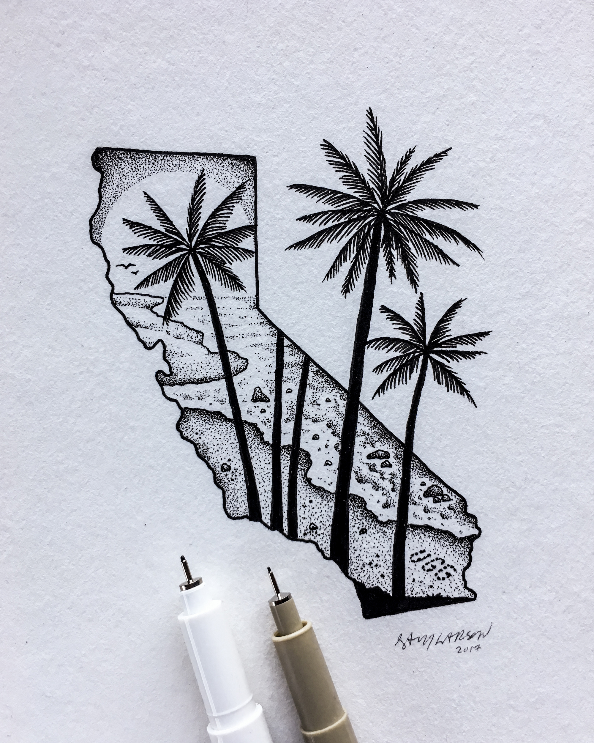 An illustration of California by Sam Larson