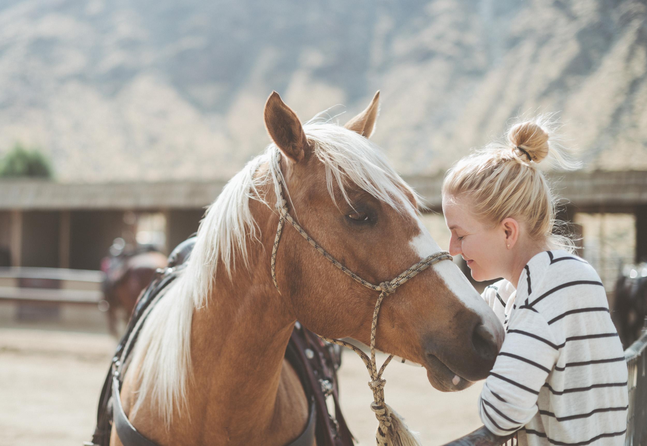 Anne Sage nuzzles a horse.