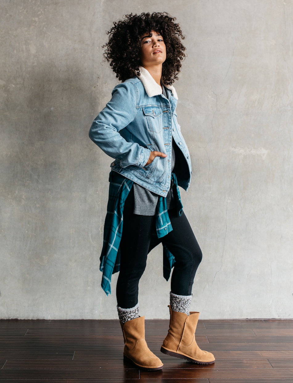 Model wears the Watts Legging, Alida boot, Cozy Chenille Sock, and Vintage Denim Jacket